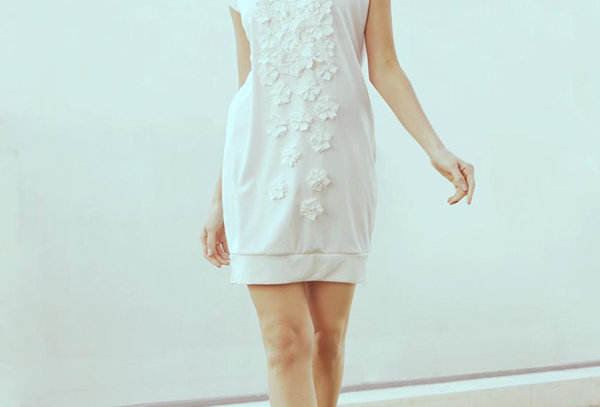 PAUSE Floral appliqué relaxed dress