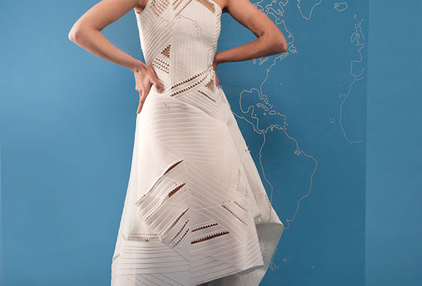 One-Shoulder Asyemtric Cutwork Dress with cut-outs and organza lining