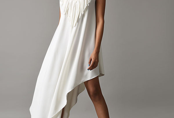 DUBS long asymmetric tunic dress with fringe and bead neckline.