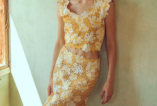 MAPLE Handcrafted Cutwork Co-ord top and skirt set