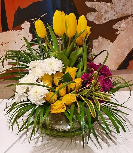 Sunshine yellow exotic vase