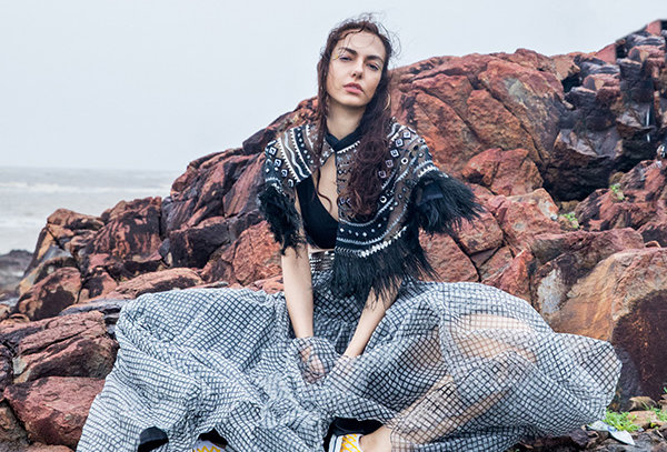 JO Metallic Handcrafted Cape with feathers