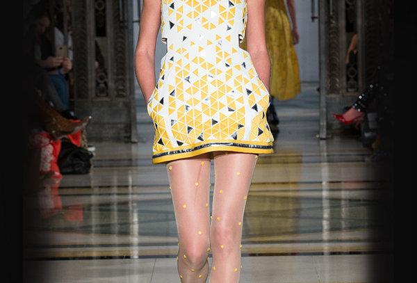 CRYSTAL Structured Prism 3D Applique Dress