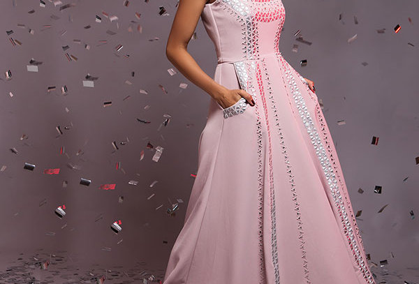 OPERA Dusky Pink gown with metallic applique