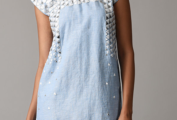 SPORT 02 Blue linen appliqué shift dress