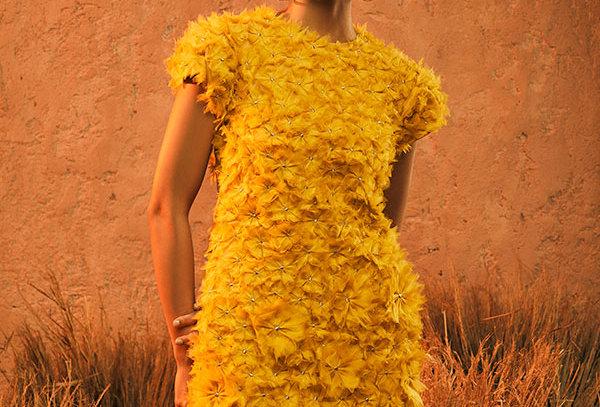 SUN GODDESS Floral textured Dress