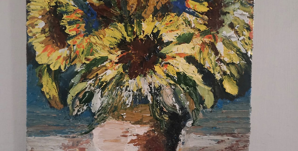 SUNFLOWER IN A VASE,ACRYLICS ON CANVAS WITH TEXTURED KNIFE PAINTING