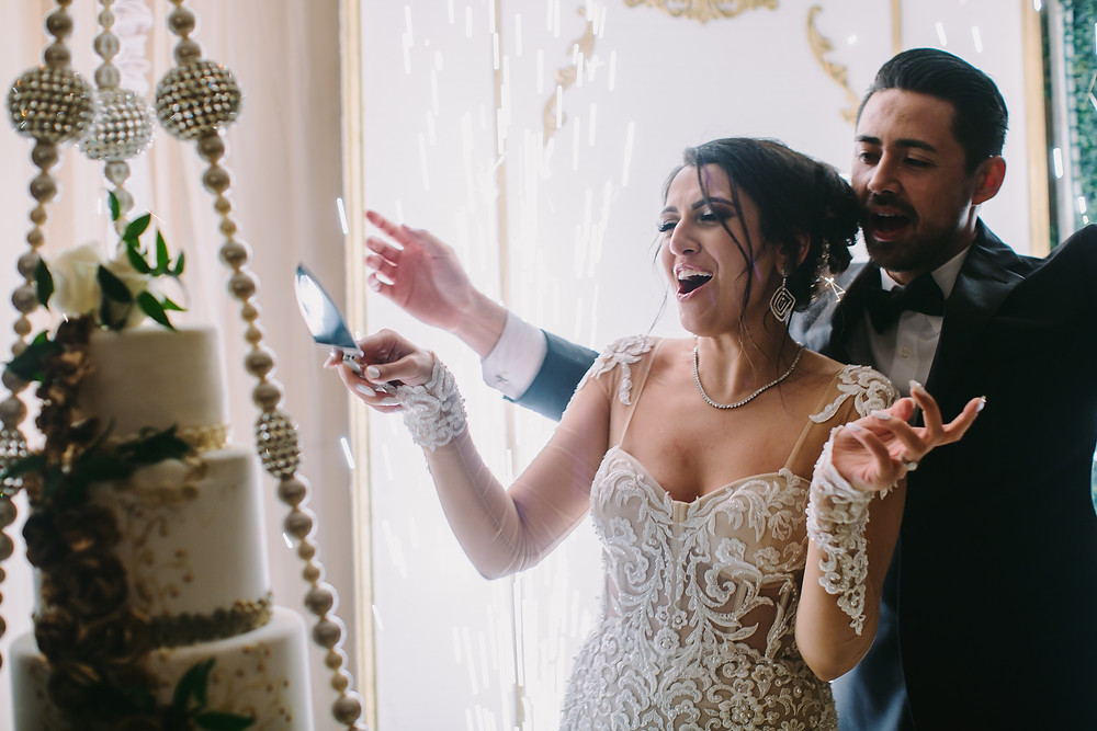 Wedding Cake Cutting Photography