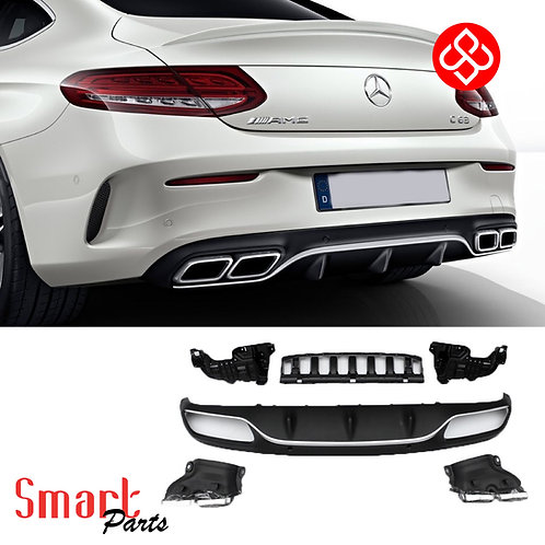 MERCEDES C-CLASS W205 C63 AMG STYLE REAR BUMPER DIFFUSER EXHAUST TIPS SPORT PACK