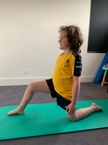 Hip flexor lunge stretch to open out the front of your hips after prolonged sitting