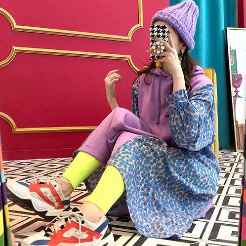 Purple Long Sleeves Hooded Dress with Flower Print 🌺