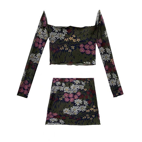 Flower Print Top & Skirt Set