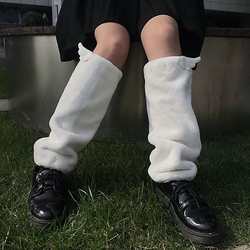 White Soft Fluffy Leg Warmers with Angel Wings