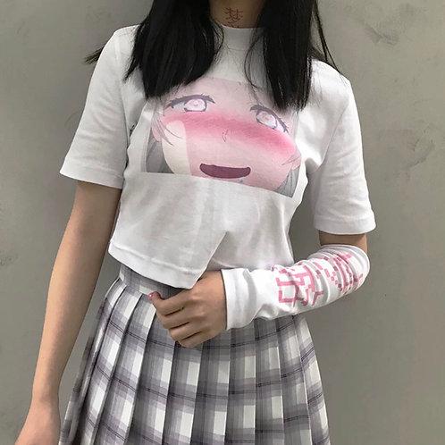 "Manga Girl Crop T-shirt with ""梦游"" Sleeve"