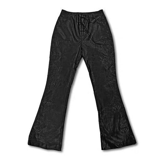 Black Vegan Leather Flared Pants with Rave Pattern