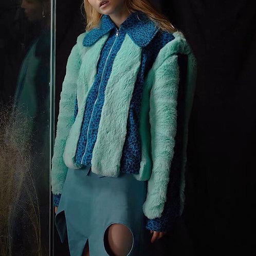Faux Fur Jacket in Sky Blue and Leopard Spliced