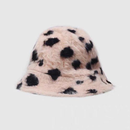 Fluffy Pink/Black Dots Bucket Hat