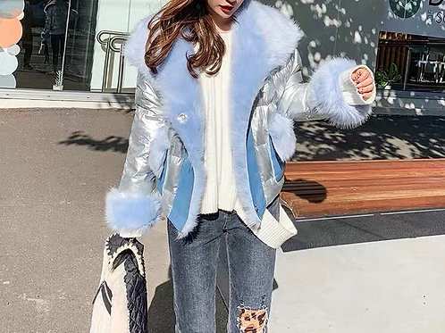 Silver PU Leather Jacket with Blue Soft Fluffy Faux Fur