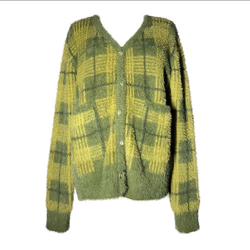 Green checked cardigan