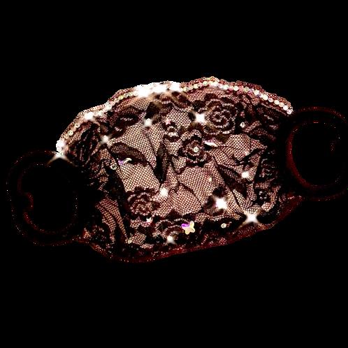 Handmade Black Lace Mask with Diamonds