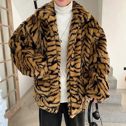 Extra Warm Brwon Tiger Print Faux Fur Jacket