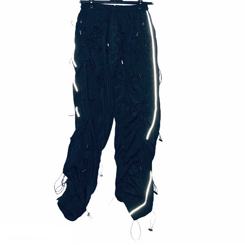 Unisex 3M Reflective Black Pants with Drawstring