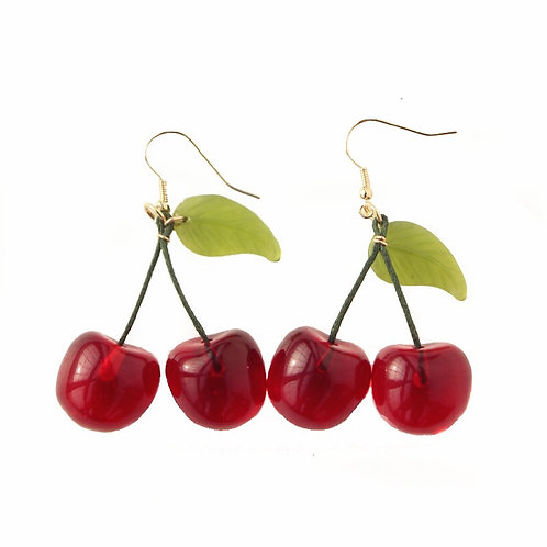 Hand Made Hard Candy Cherry Earrings