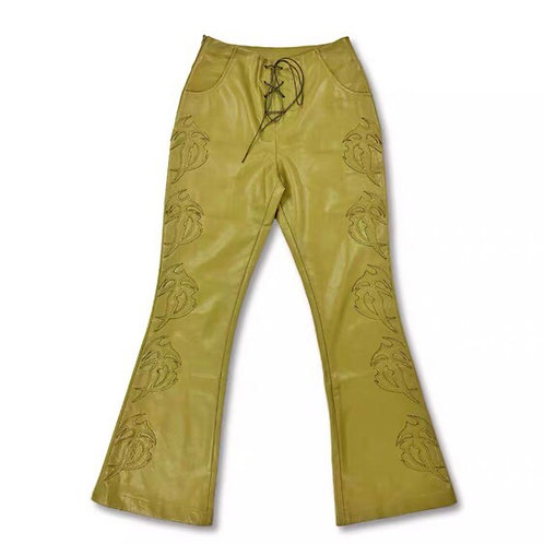 Mustard Yellow Vegan Leather Flared Pants with Rave Pattern
