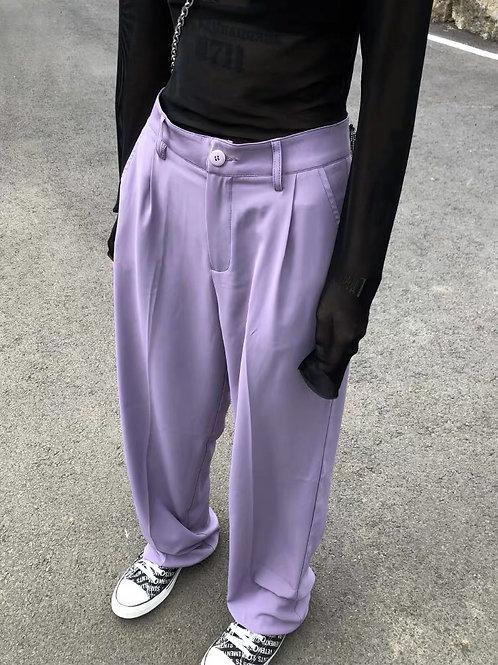 Purple High Waist Straight Suit Pants