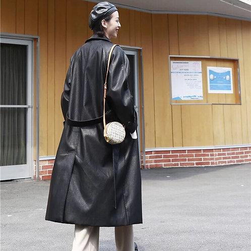 Unisex Black Long PU Leather Coat
