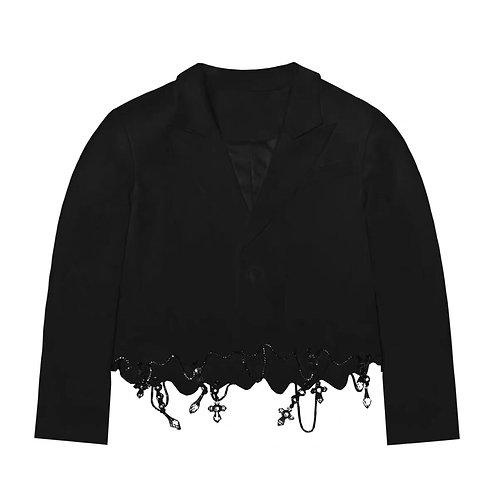 Black Geometrical Blazer with Diamond Crossing