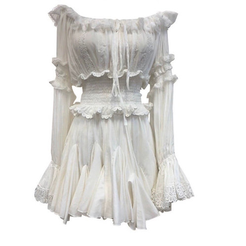 White Lace Top & Skirt Set