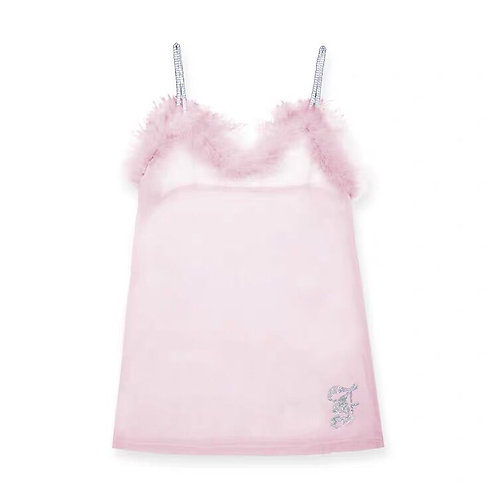 Pink See Through Diamond Strap Mesh Top with Faux Fur and Diamond Details