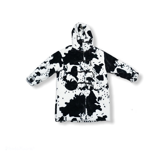 Black and white fur jacket