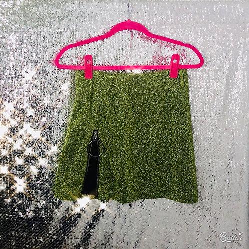 Green Blingbling Skirt with Open Zip