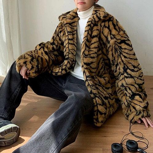 Unisex Tiger Print Faux Fur Jacket