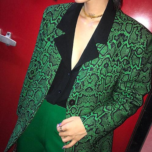 Green Snake Skin Oversized Blazer