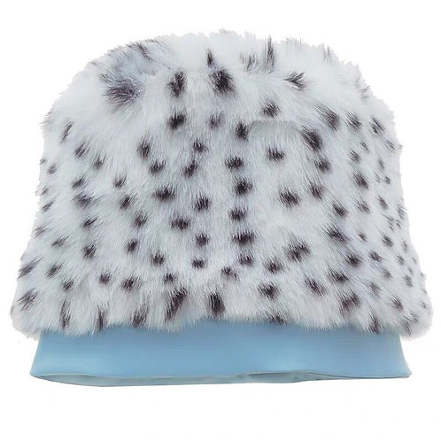 White Leopard Faux Fur Hat with Vegan Leather Spliced
