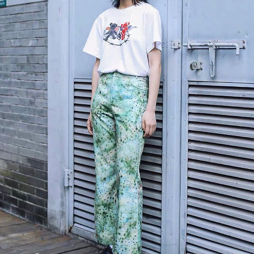Light Green Flared Pants with Polka Dot Print