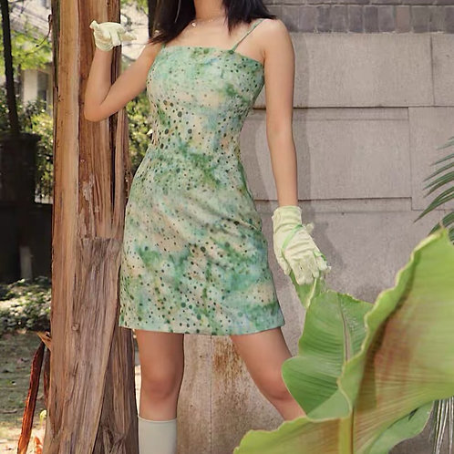 Light Green Strap Dress with Polka Dot Print