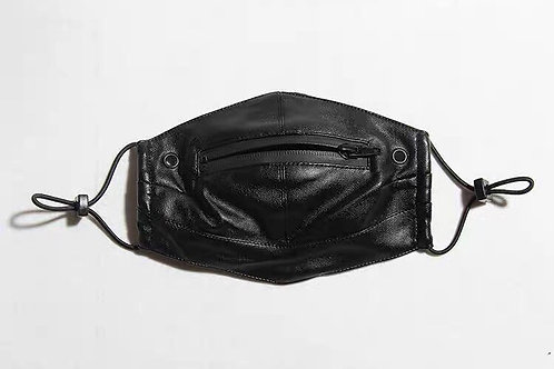 PU Leather Face Mask with Pocket