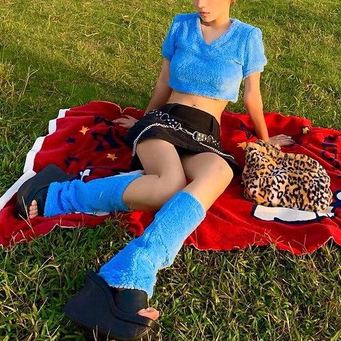 Blue Toweling Leg Warmer