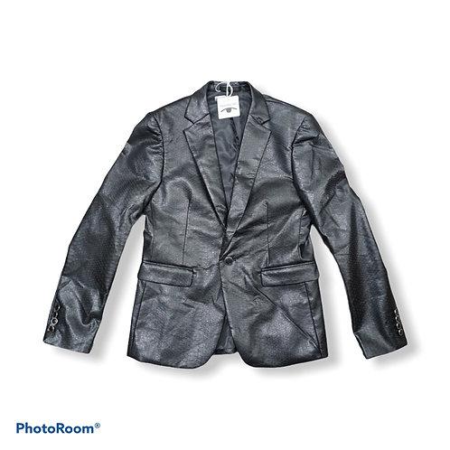 Black snake print faux leather blazer