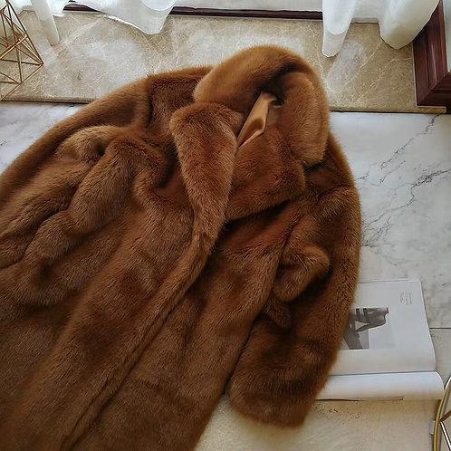 Brown Faux Fur Long Coat