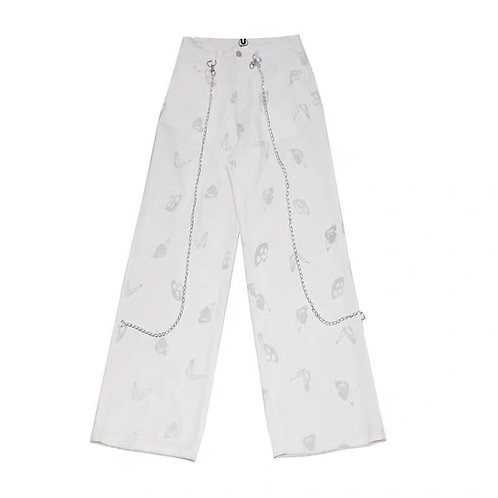 White 3M Reflective Butterflies Pants with Chains
