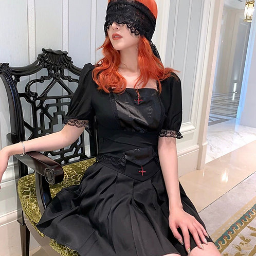 🎃 Halloween Special 🎃 Black Chiffon Lace Top with See Through Back & Cross