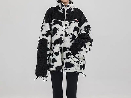 Unisex Cow Print Fluffy Jacket with Drawstring