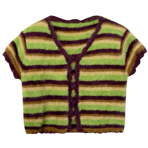 Green/Purple Fleece Cardigan
