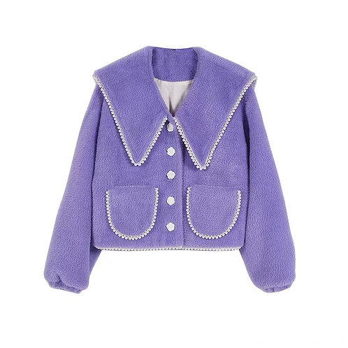 Extra Warm Purple Faux Fur Jacket with Pearl