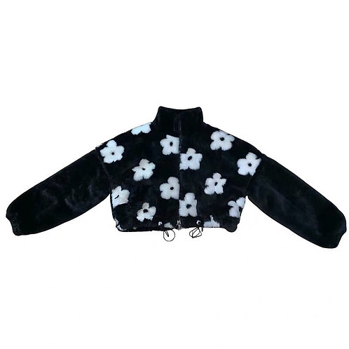 Flowers black and white faux fur jacket